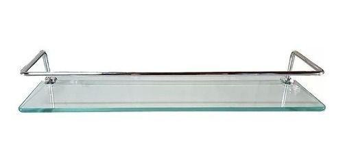 Prateleira vidro temperado incolor para banheiro com suporte