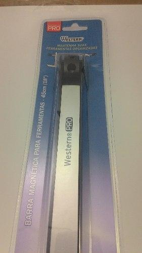 """Barra magnética suporte para facas de cozinha e ferramentas 45cm 18"""" Western"""