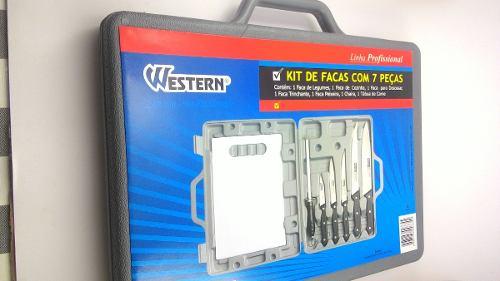Jogo de facas com 7 peças churrasco com maleta estojo Chef Western N-27