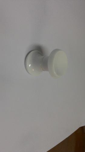 Puxador duplo redondo de resina para porta de vidro branco médio