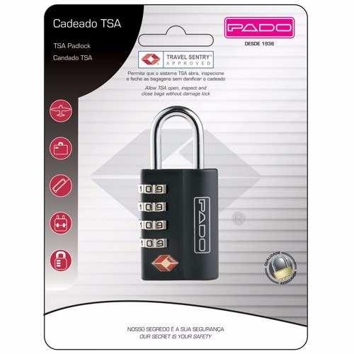 Cadeado Pado TSA excutive 4 segredos preto