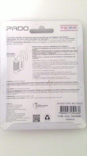 Cadeado Pado TSA excutive 4 segredos prata