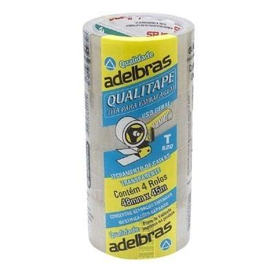 Fita adesiva para embalagem transparente Qualitape Aldebras  48mmx45m 4 rolos