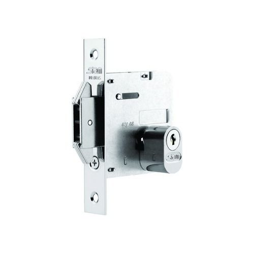 Fechadura para porta de correr ou bater 1006 Stam cromada com roseta quadrada
