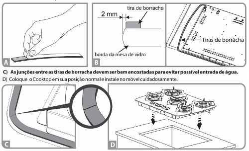 Borracha fita cola vedação 11x2mm  fogão cooktop para todas as marcas 4m