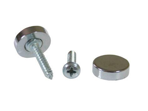 Botão rosca interna cabeça chata maciça metal - 10 unidades