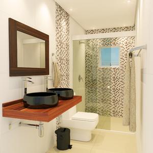Box para banheiro em Vidro Temperado Frontal 100cm branco com vidro incolor
