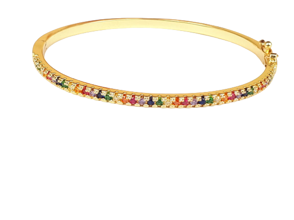 Bracelete Rainbow Zircônia Colorida banho de ouro 18k