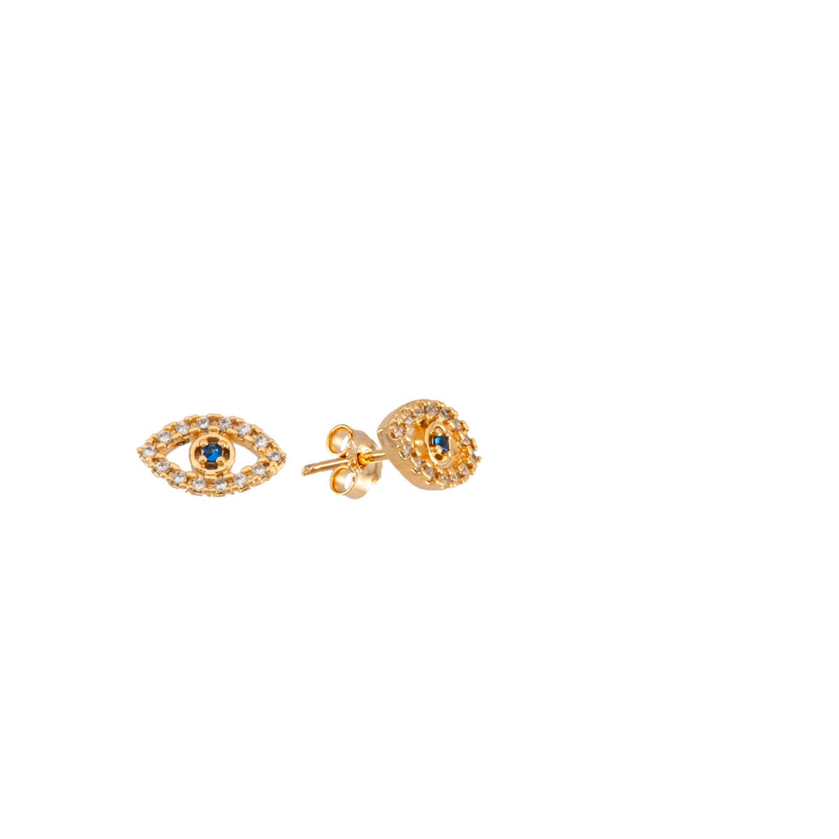 Brinco folheado banho de ouro 18k cravejado com pedras olho grego