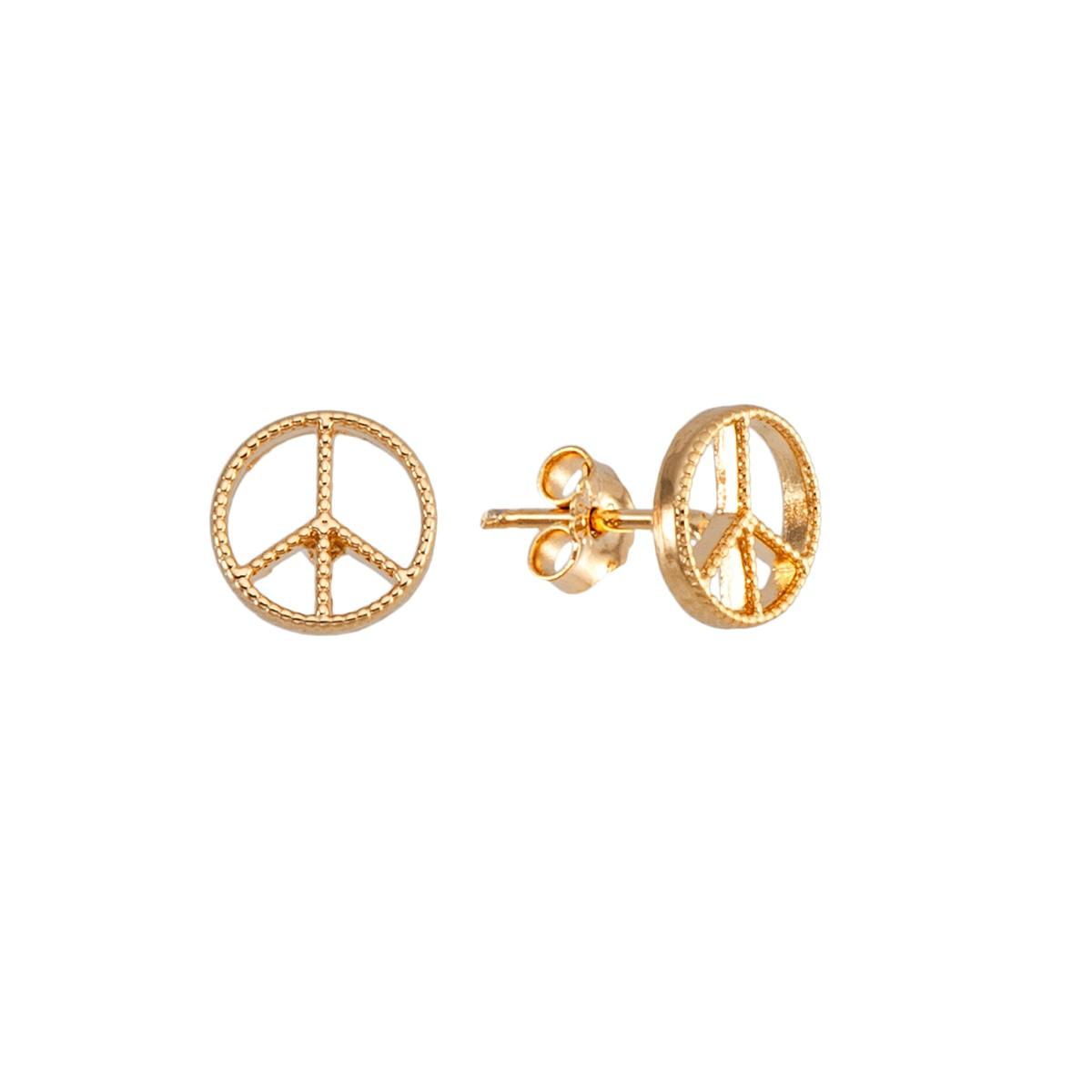 Brinco folheado banho de ouro 18k símbolo da paz