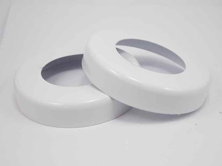 Canopla branca redonda em aço inox polido 2 polegadas
