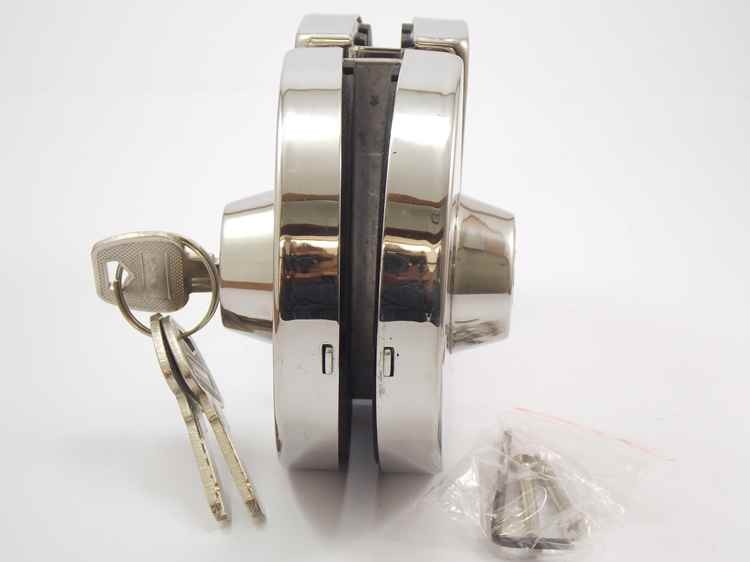 Fechadura redonda de pressão em inox para porta vidro blindex - vidro/vidro