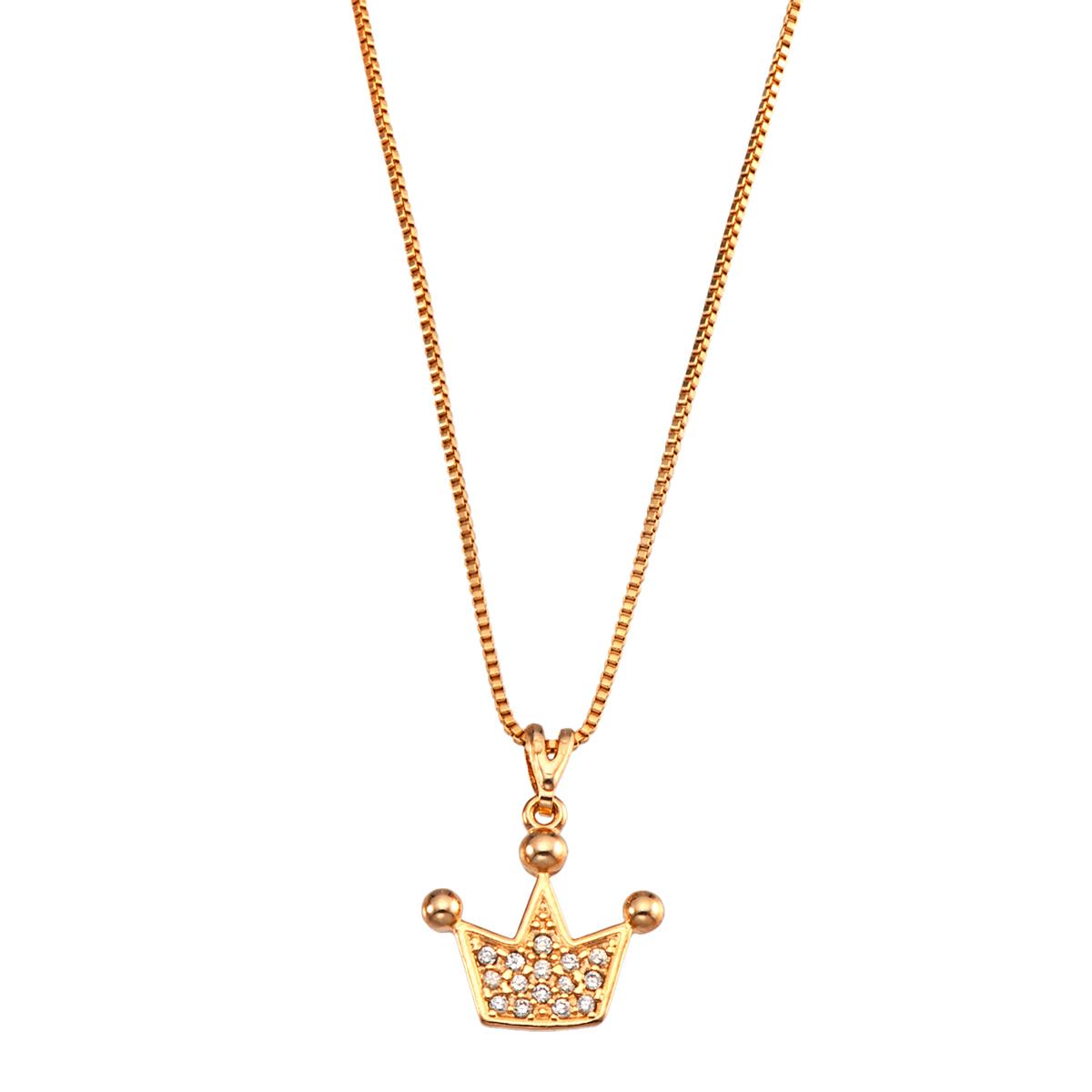 Corrente Colar folheado banho de ouro 18k - Pingente Coroa