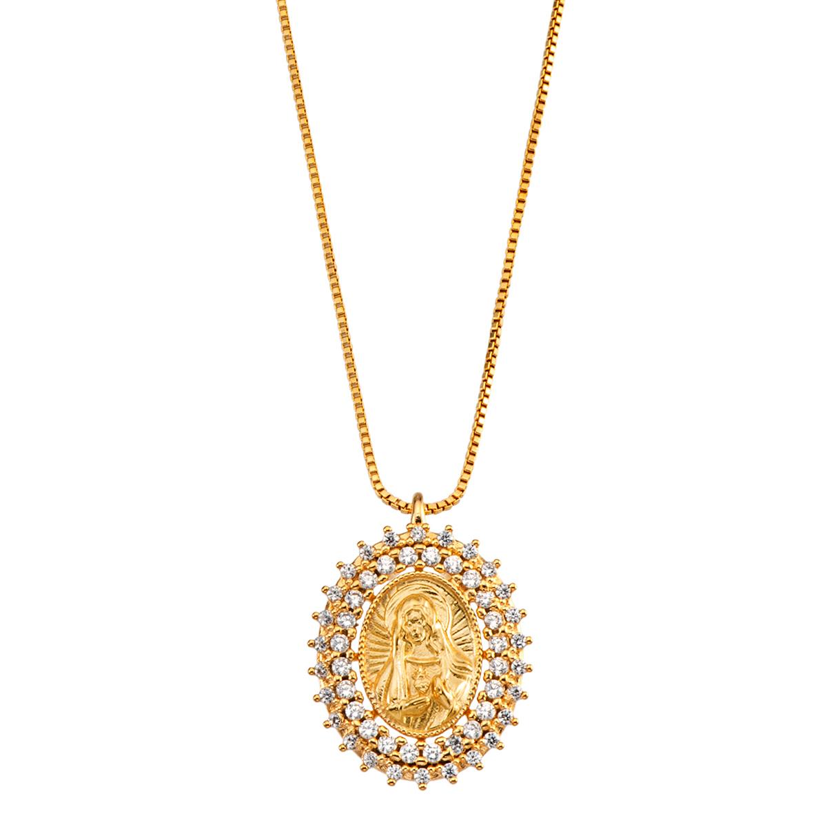 Corrente Colar folheado banho de ouro 18k - Pingente Sagrado Coração de Maria Cravejado