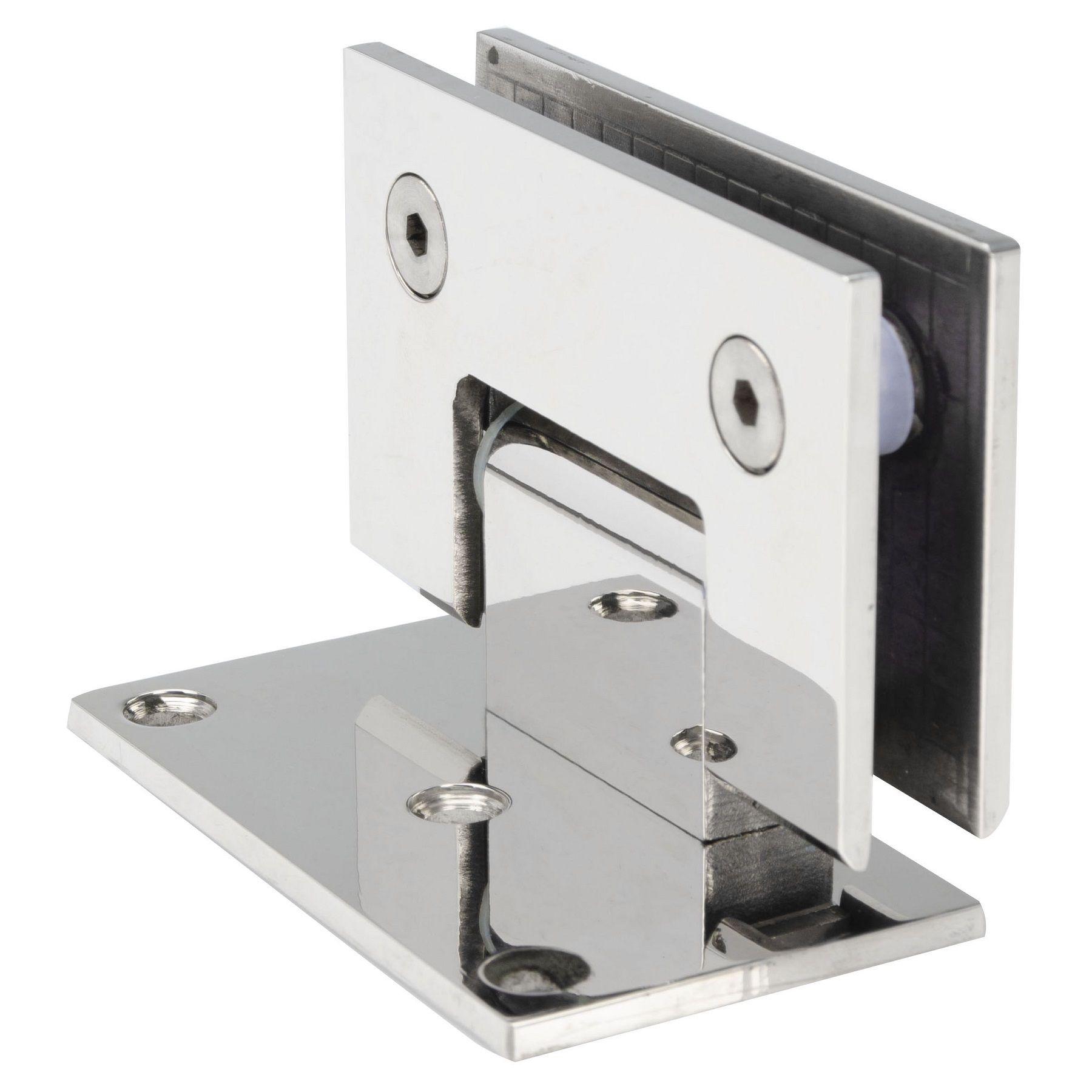 Dobradiça inox GV48 90º 1011 para porta de vidro e box - alvenaria/vidro