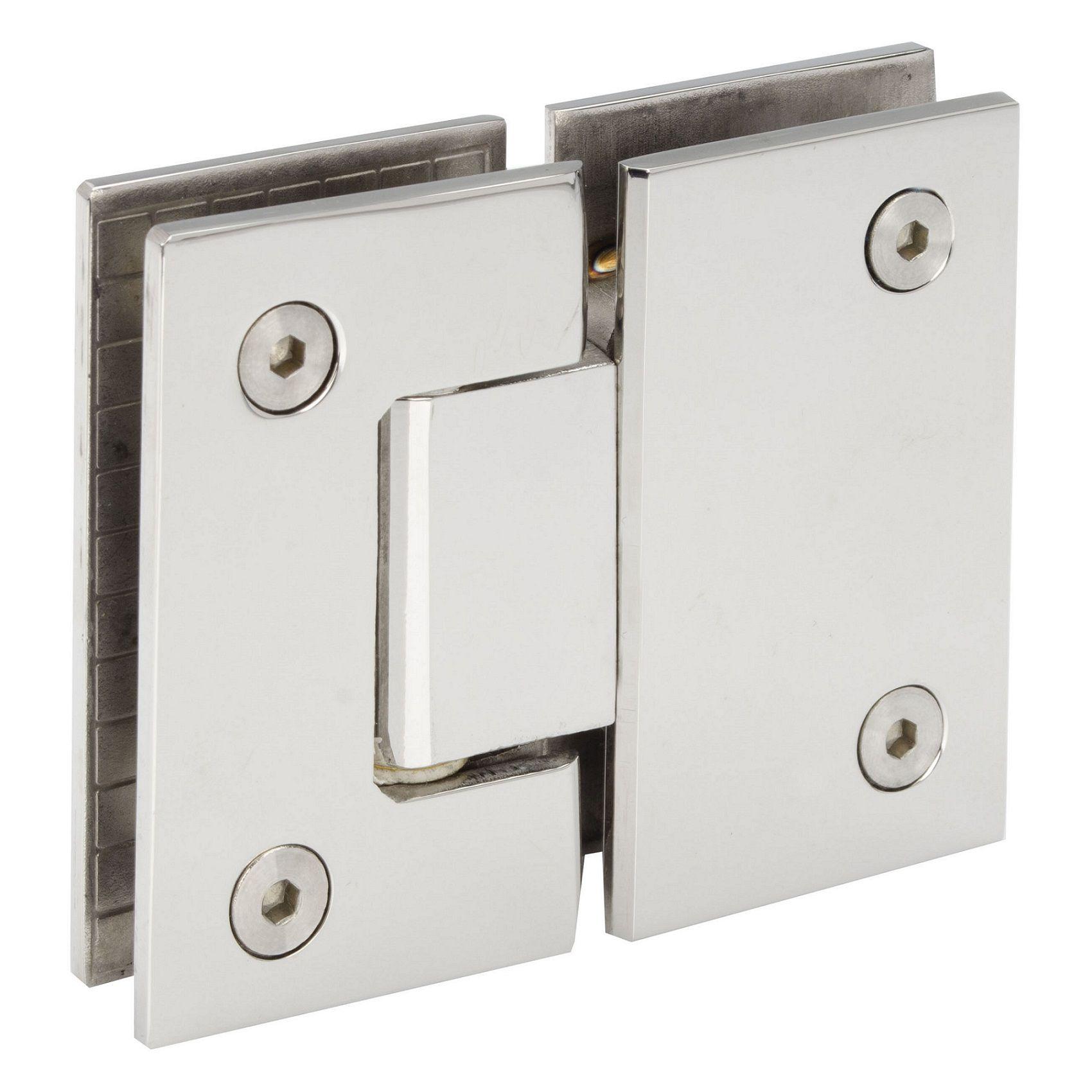 Dobradiça inox GV48 180°1010 para porta de vidro e box - vidro/vidro 2un