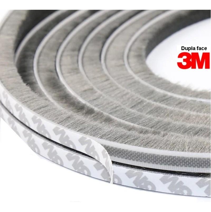 Escovinha Vedadora Adesiva 5x5mm - 20 Metros 3m - Cinza