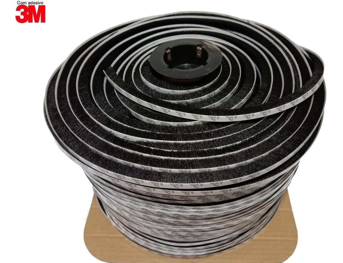 Escovinha Vedadora Adesiva 5x5mm - 20 Metros 3m - Preta