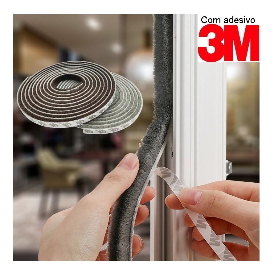 Escovinha Vedadora Adesiva 5x5mm - 50 Metros 3m - Cinza