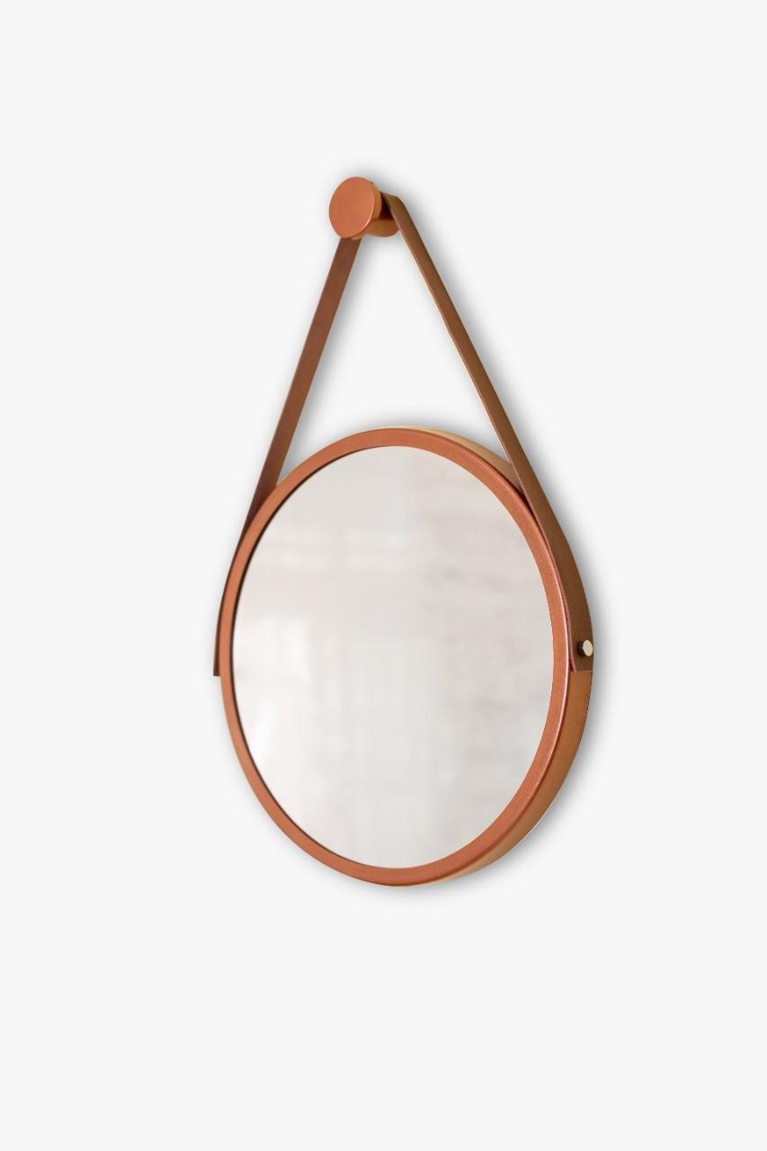 Espelho Adnet 60cm marrom com alça marrom