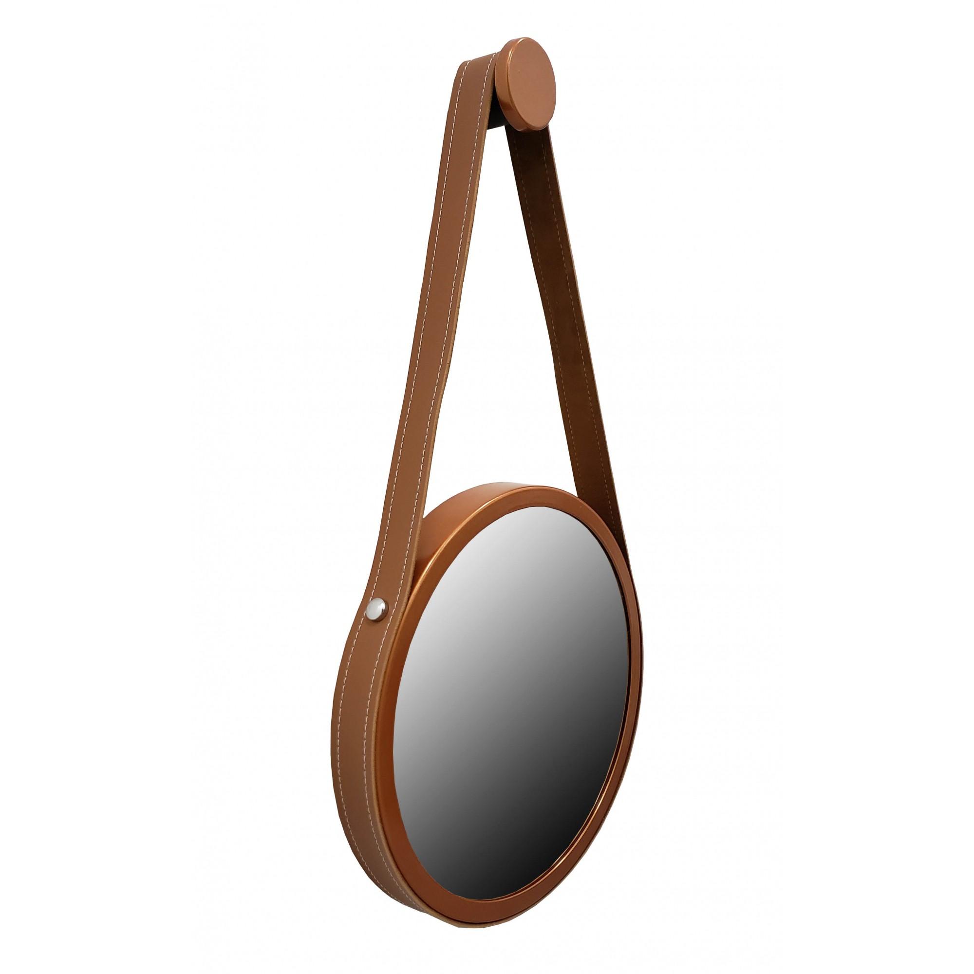Espelho Adnet 50cm premium Cobre Com Alça Marrom