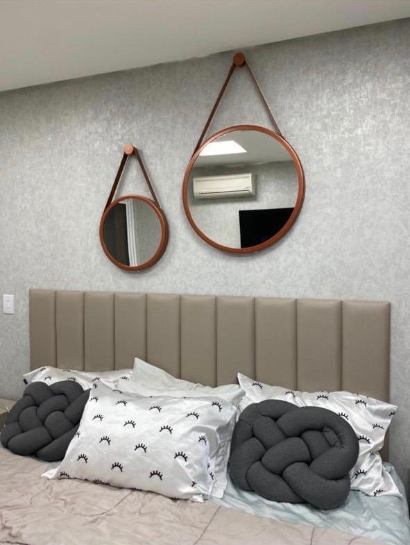 Espelho Adnet redondo Preto Com Alça Marrom