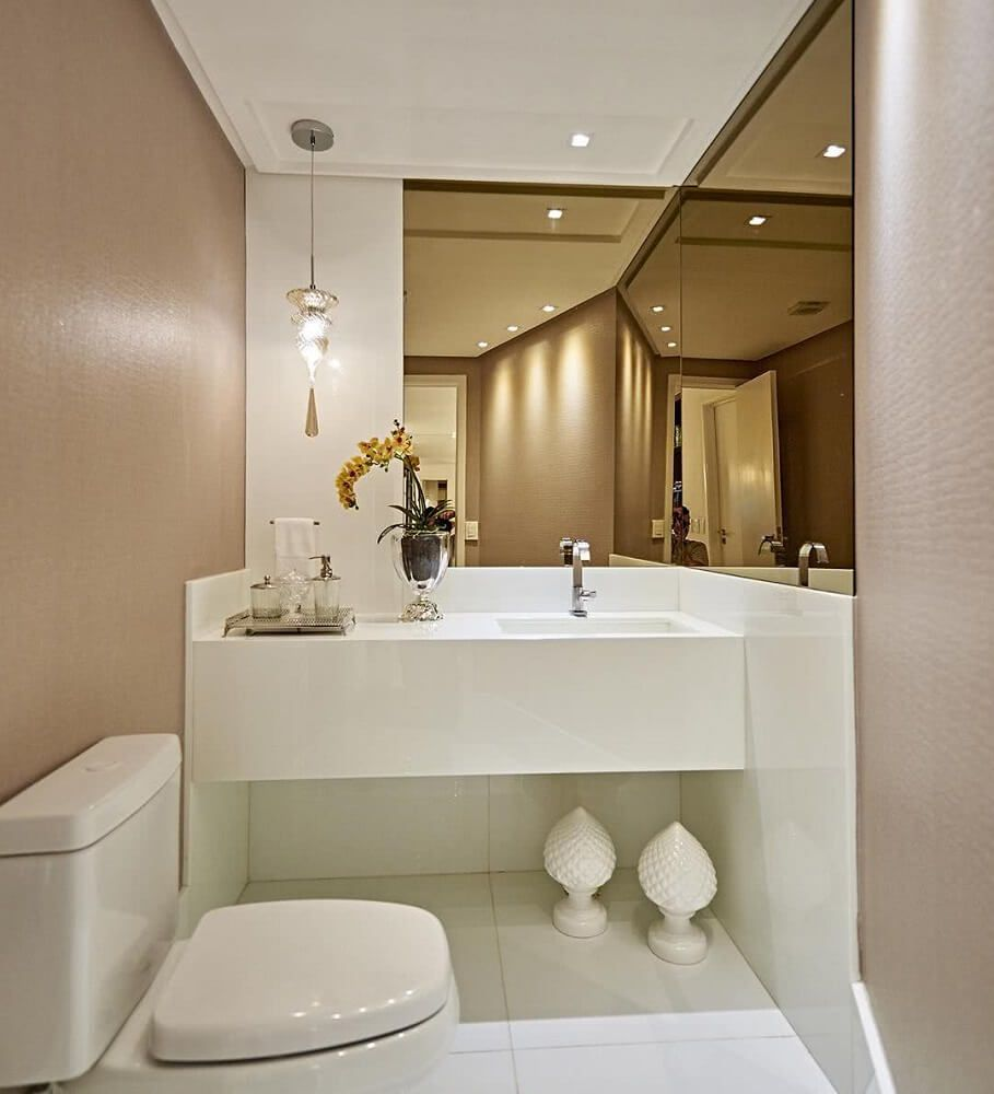 Espelho banheiro lapidado Bisotê 30x30cm Bronze Com Pendurador