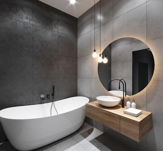 Espelho com LED quente neutro Redondo 82cm + orgânico 64x54