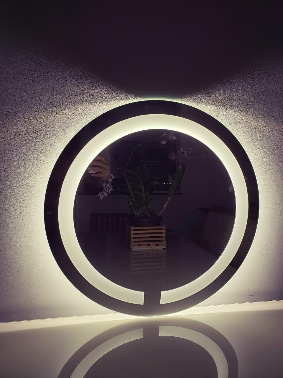 Espelho com led redondo jateado 60cm