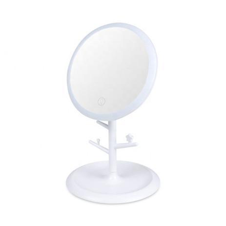 Espelho De Led para mesa com 3 Intensidades Recarregável Rosa
