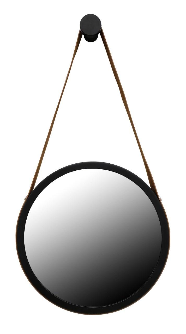 Espelho Decorativo adnet preto com alça marrom 50cm