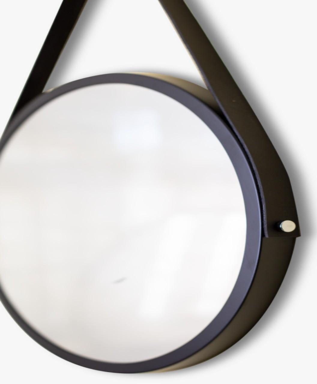 Espelho Decorativo adnet Preto com alça preta 50cm