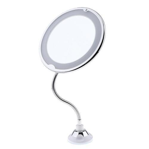 Espelho Flexível 360° Com Led Aumenta 10x Imagem Com Ventosa