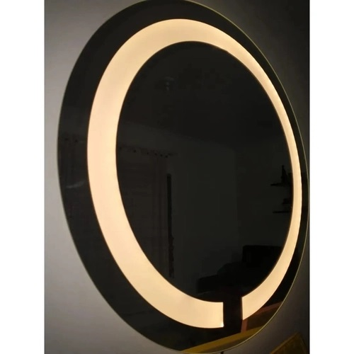 Espelho Jateado Redondo 50cm com LED quente