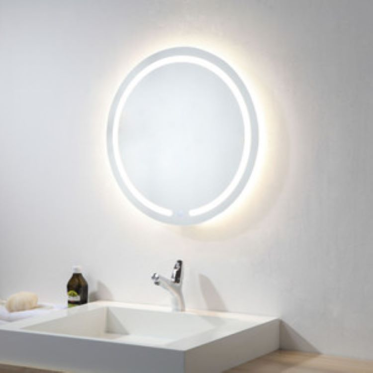 Espelho jateado Redondo 60cm com LED frio