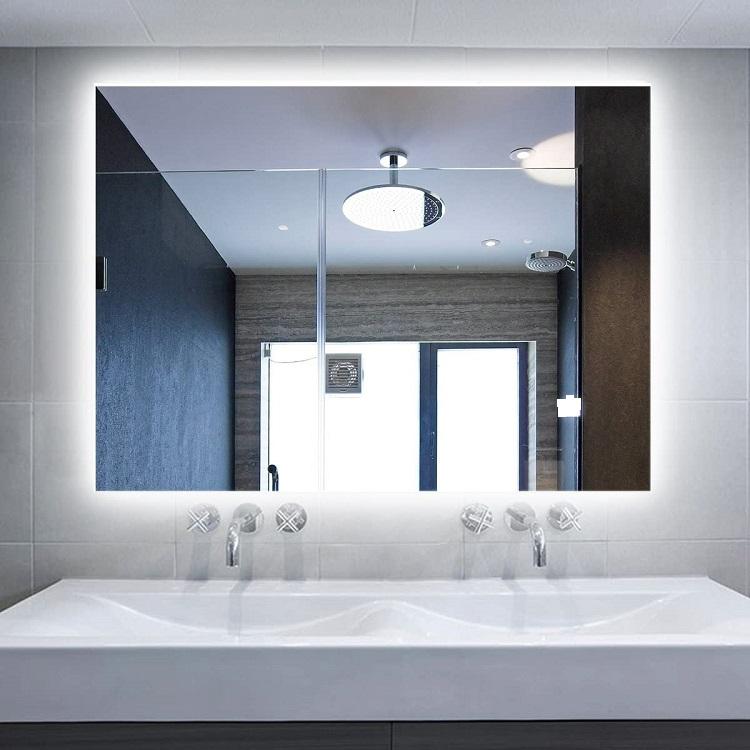 Espelho lapidado bisotê Iluminado com LED frio - 100x100cm