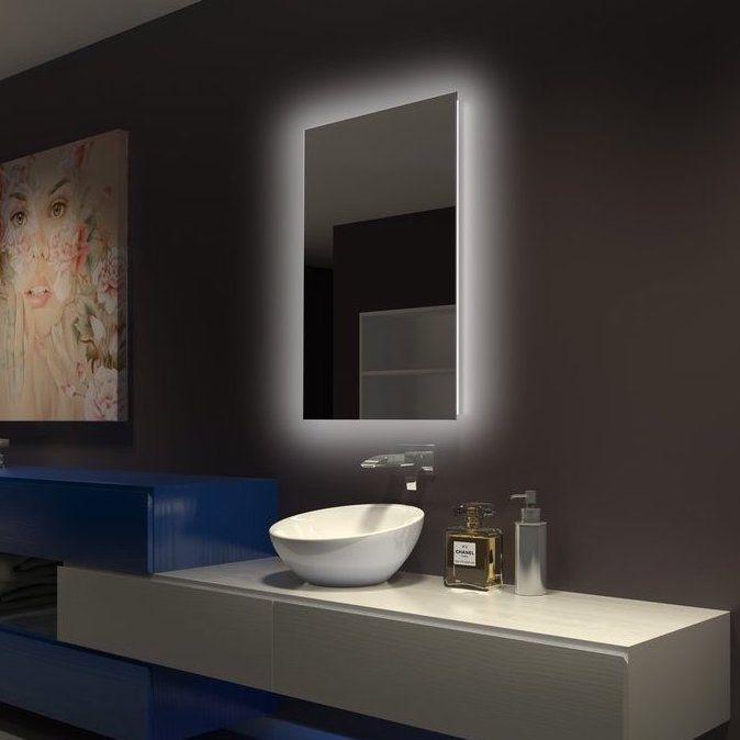 Espelho lapidado bisotê iluminado com LED Frio - 30x50cm