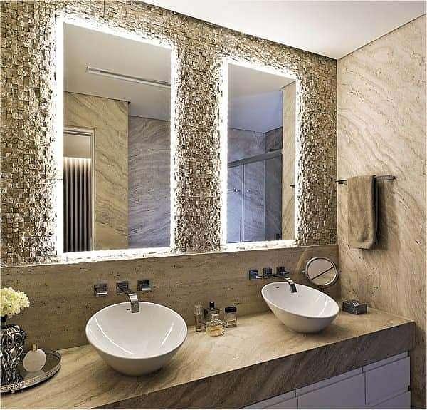 Espelho lapidado bisotê iluminado com LED neutro - 40x70cm