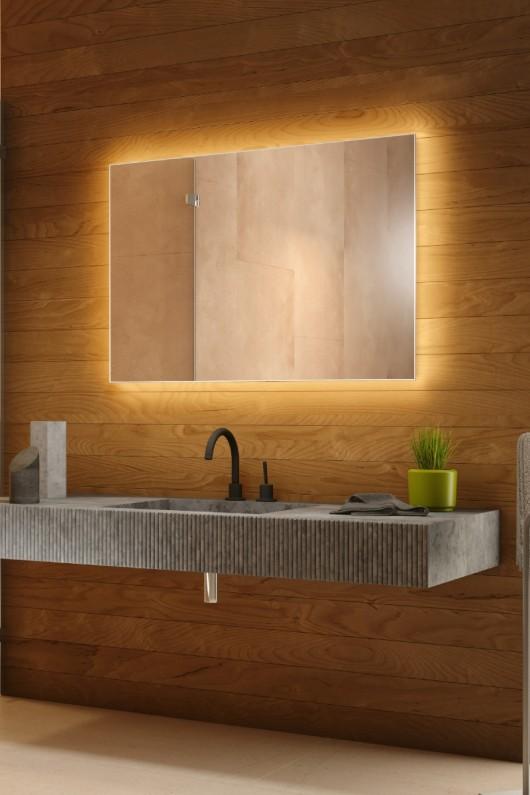 Espelho lapidado bisotê iluminado com LED quente - 50x60cm