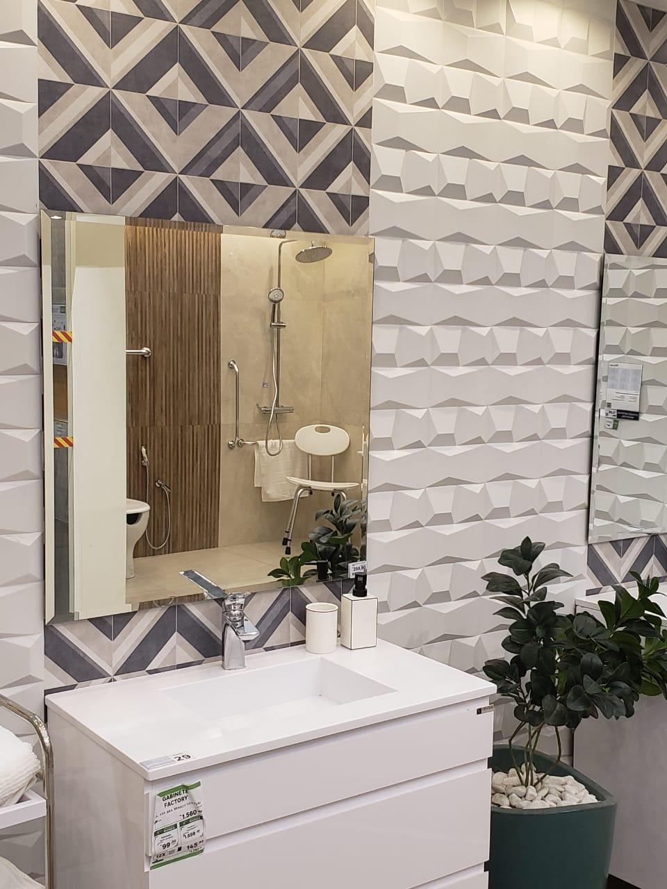 Espelho Lapidado Com Bisotê - 45x45cm