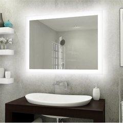 Espelho lapidado bisotê iluminado com LED Frio - 50x50cm