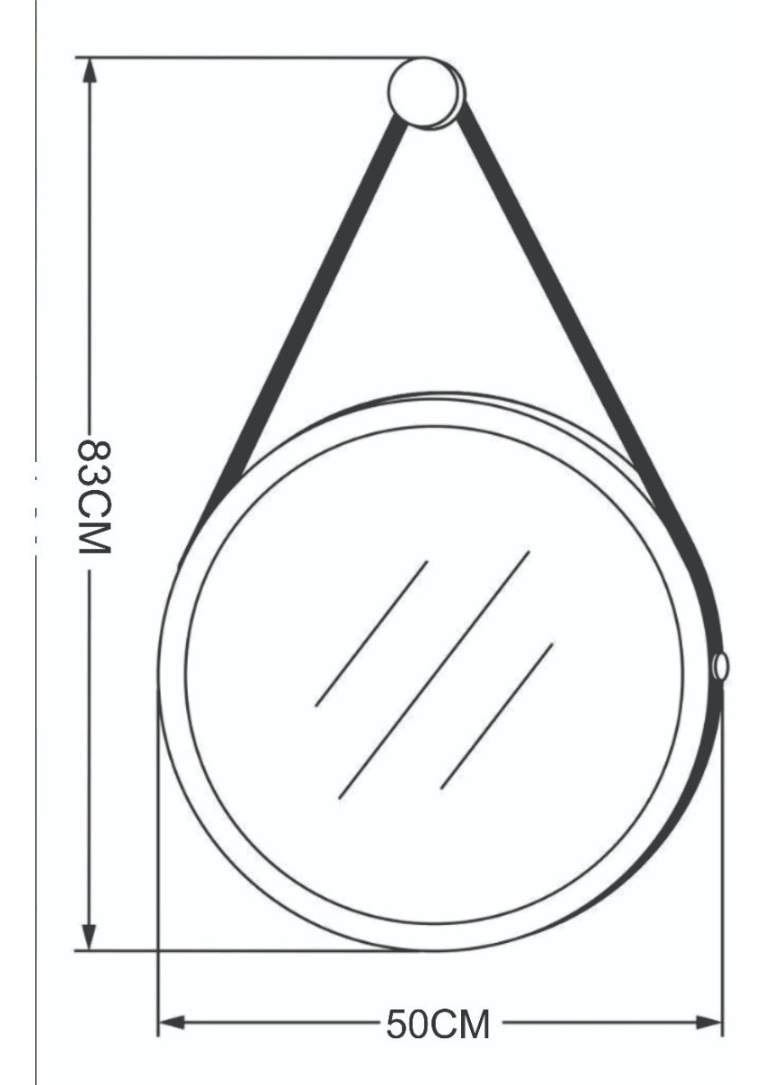 Espelho Led Adnet 50cm Marrom Alça De Couro Marrom