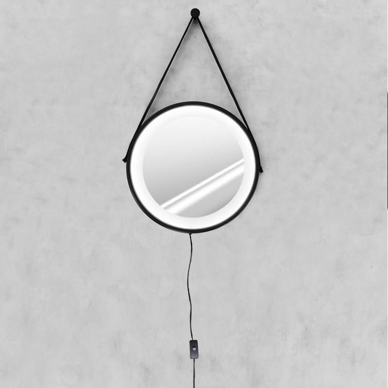 Espelho Led frio Adnet 50cm Preto Alça De Couro Marrom
