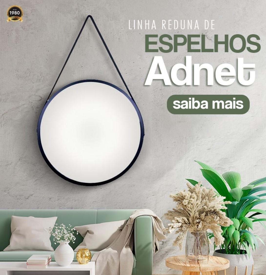Espelho Led frio Adnet 50cm Marrom Alça De Couro Marrom