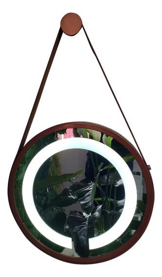 Espelho Led frio Adnet 60cm Marrom Alça marrom