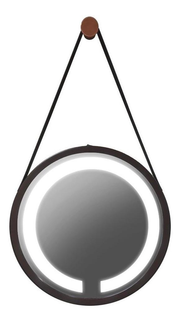 Espelho Led frio Adnet 60cm preto Alça marrom