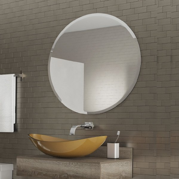 Espelho Multiuso Lapidado Redondo 40cm com pendurador