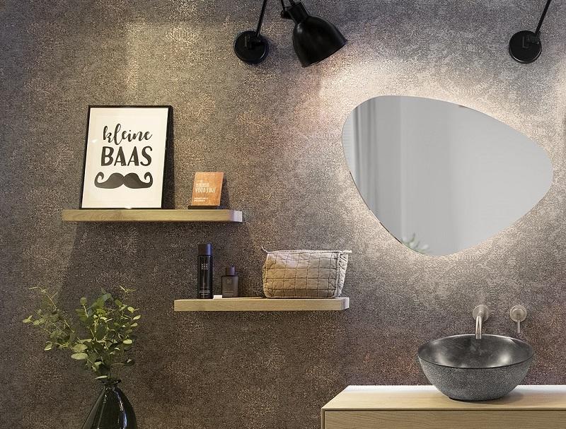 Espelho orgânico decorativo iluminado com led neutro 64x54cm