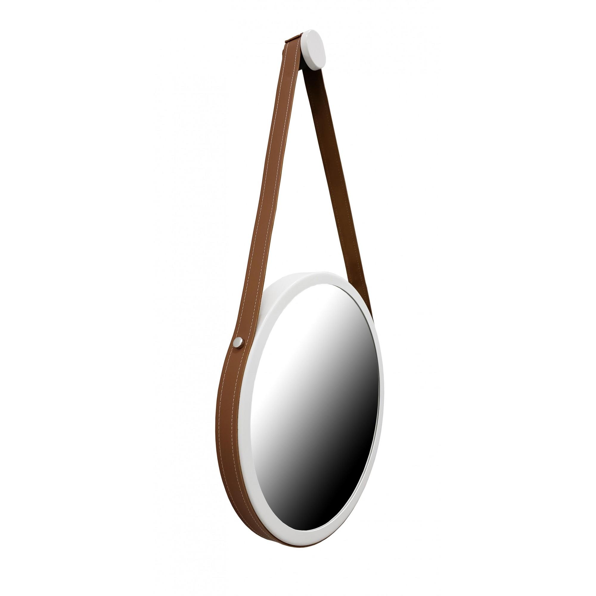 Espelho Redondo Adnet Branco Com Alça De Couro Marrom