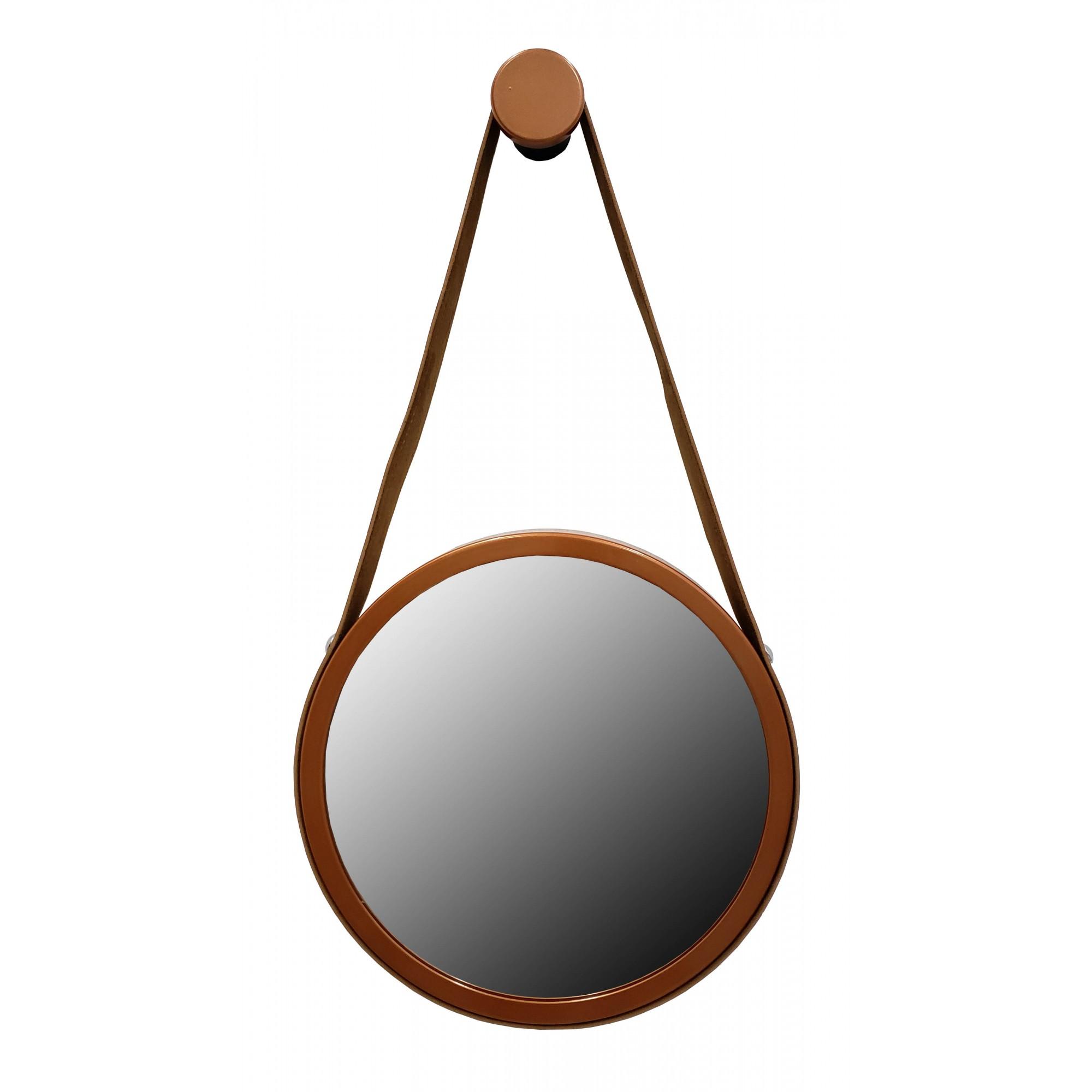 Espelho Adnet Premium Cobre Com Alça De Couro Marrom 50cm